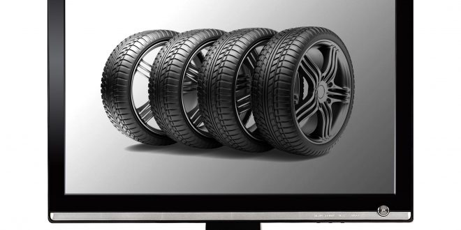 Reifen online kaufen: Bildschirm mit Autoreifen