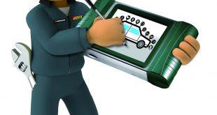 Reifenpflege: Confortauto-Maskottchen mit Werkzeug.